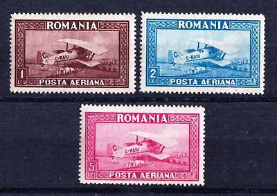 Romania 1928 Air Bleriot SPAD 33 Biplane - Three MNH values - Cat £23 - (593)