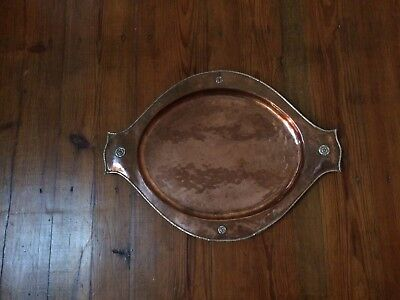 Antique Arts & Crafts Movement 1908 Copper and Silver Tray by A E Jones
