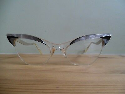 Vintage Pearly Grey & Black Cat Eye Glasses With Two Tone Silver Metal Arms