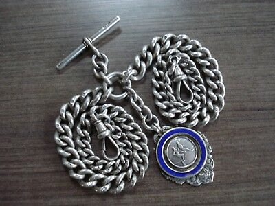 1897 Solid Silver Double Albert Pocket Watch Chain & Fob 76g