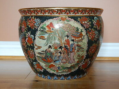 Vintage Hand-painted Oriental Chinese Imperial Porcelain Koi Fish Bowl