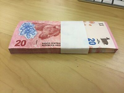 Lot X 100  Argentina  20 Pesos P. New, Guanaco, Lot Of 100,  Unc
