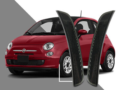 Euro Smoke Front Bumper Side Marker Reflector Light Pair For 2011-17 Fiat 500