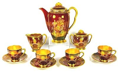 Vintage Art Deco Carlton Ware Rouge Royale Coffee Service