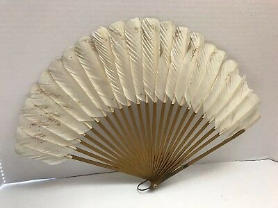 VINTAGE White Feather Folding Hand Fan - Gold Wood Sticks, Hand Painted Flowers