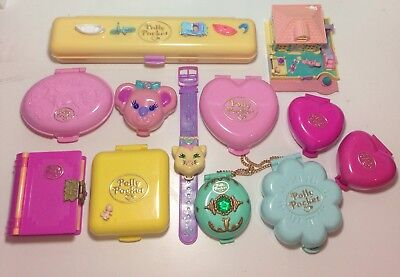 Vintage Polly Pocket Bluebird 1989-1995 Bundle VG Condition 12 Cases And Extras