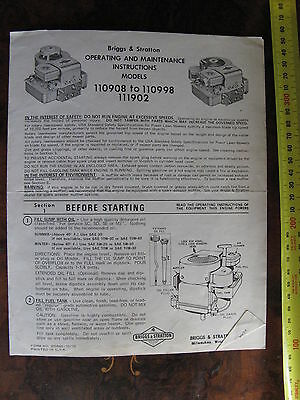 Briggs & Stratton Operating Instructions Model 110908 to 110998 111902