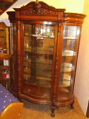 Large Antique Oak China Cabinet Curved Glass Front with Eagle Carved on Top