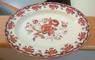 Antique Copeland Hand Painted Serving Dish w/ Floral Motif From the 19th Century