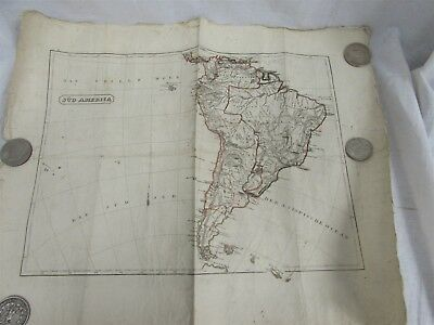 Antique 19th Century Hand Colored Etching South America SUD America Map Brazil
