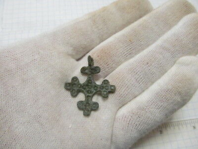 Ancient bronze cross with solar symbols of Kyiv Rus Vikings 12-13 AD № 306/11.