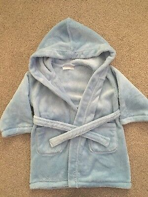 The Little White Company Boys Blue Dressing Gown 18-24 Months