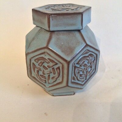 Vintage Tyn Llan Welsh Pottery Hexagonal Lidded Pot/Jar