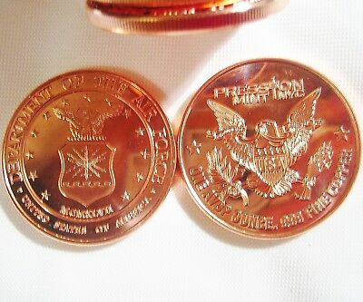 Lot of 20- 1 ADVP oz. Coins -.999 Fine Copper Department of the Air Force Rounds