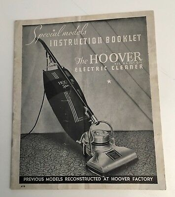 Vintage Hoover vacuum cleaner User Manual book for Special models