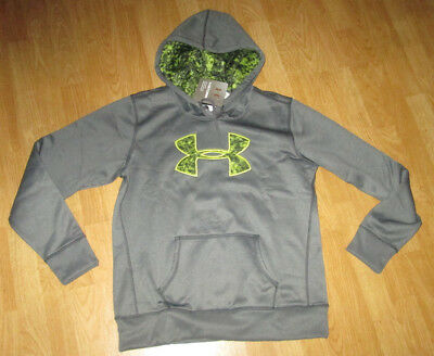 NWT LADIES UNDER ARMOUR Storm Fleece Big Logo Hoodie Gray 1260127-095 LG LOOSE