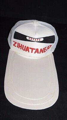 Vintage Unique LONG BILL Zihuatanejo Ixtapa Novelty Mesh Trucker Snapback Hat