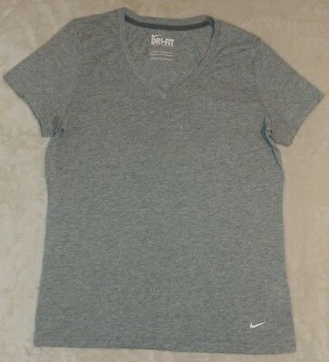 Nike Womens Dry-Fit V-Neck Athletic T-Shirt Size Medium GRAY EUC . NICE!!!
