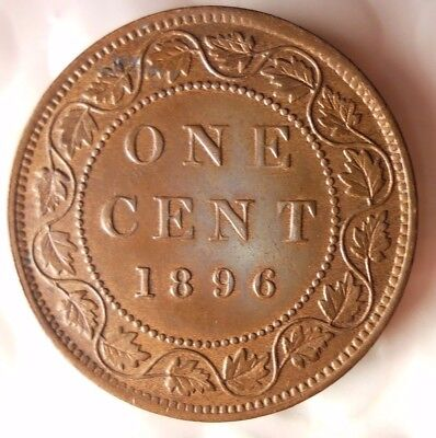 1896 CANADA CENT - AU/UNC GEM - Scarce Date Coin - Lot #D12