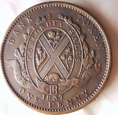 1837 CANADA (BANK OF MONTREAL) PENNY - AU - Incredible Coin -HUGE VALUE -Lot D12