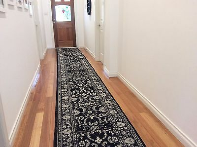 Hallway Runner Hall Runner Rug Traditional Black 7 Metres Long FREE DELIVERY