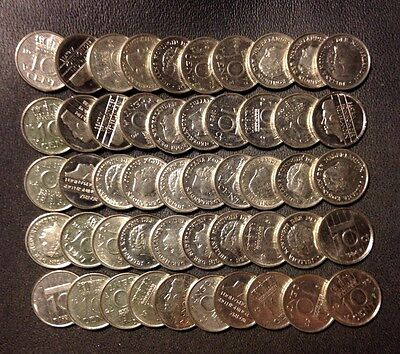 Old Netherlands Coin Lot - 10 CENTS - 50 Great Unsearched Coins - Lot #D12