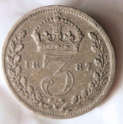 1887 GREAT BRITAIN 3 PENCE - SCARCE Date - Excellent Silver Coin - Lot #D12
