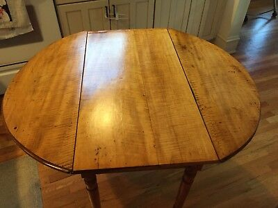 Tiger or Curly Maple Antique Mid 1800's Drop Leaf Breakfast or Sofa Table!