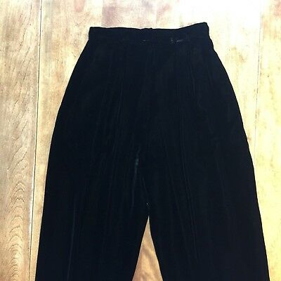 Vtg Victor Costa for Lord & Taylor Black Velvet High-Waisted Dress Pants Formal