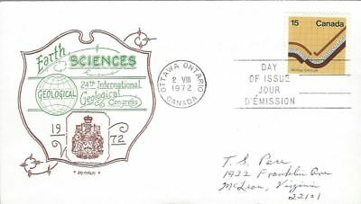 1972 Earth Sciences #582 Geology FDC with Artopages cachet
