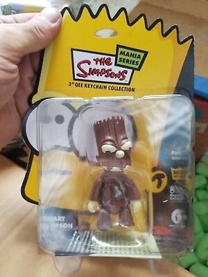"Lot Of 2 Different New 3""  Bart Simpson Qee Keychain Figures The Simpsons"