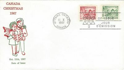 1967 Christmas #476-7 Children Carolling FDC with Grover Gloss cachet unaddresd