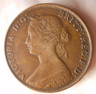1861 CANADA (NOVA SCOTIA) CENT - AU - Rare High Grade Coin - Lot #D12