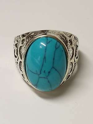 Chinese Exquisite Silver Handwork Inlaid Turquoise Fashion Ring