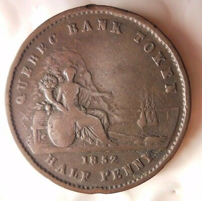 1852 CANADA (QUEBEC) 1/2 PENNY - Very Scarce Coin - HUGE VALUE - Lot D12