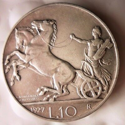 1927 ITALY 10 LIRE - RARE HIGH VALUE - AU/UNC - Great Silver Coin - Lot #D12