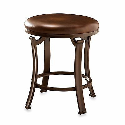 Vanity Stool Antique Bronze Chair Accent Fabric Upholstery Bathroom Bedroom Seat