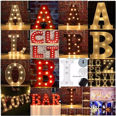 12'' 9'' LED Marquee Letter Light Up Vintage Alphabet Sign Wedding Hang Stand