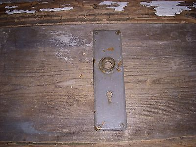 Vtg Shabby Chippy Steampunk Gray Heavy Cast Brass Door Knob Back Plate Art/craft
