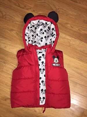 Kids Mickey Mouse Puffer Vest With Mickey Ears 18-24months