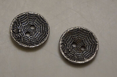 silver spider web buttons 5/8 in dia lot of 2 p  collectible goth