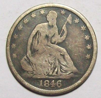 1846-O  SEATED LIBERTY HALF DOLLAR  Better Date  G+ / VG Free U.S.Ship #19B57