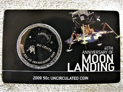 *2009 MOON LANDING specimen uncirculated 50 cent coin in card. Only 43,149 made!