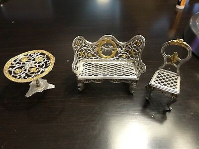 Antique GERMAN Filigree Dollhouse FURNITURE Sofa Chair Table Soft Metal Silver