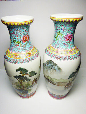 two early Chinese Rose medallion republic era vases with Qianlong mark