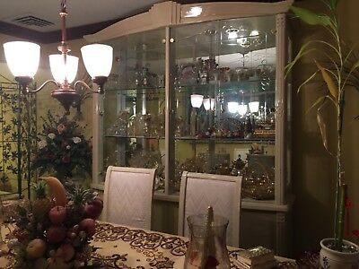 italian ivory white dining room set with China cabinet