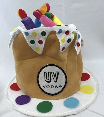 UV Vodka Birthday Hat Cake, Party, Candles, Fun Hat Cap *NEW*