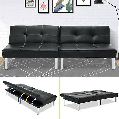 Black Folding PU Leather Futon Convertible Sofa Sleeper Bed Living Room  Adjust for set of 2 sofa✔Free Delivery✔High Quality✔