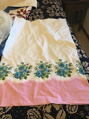 Moprimitivepast Antique Vintage Feedsack pink blue roses Pillowcase style open