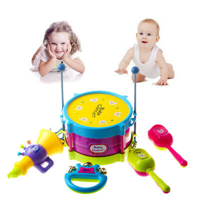 US 5pcs Baby Boy Girl Drum Musical Instrument Toy Kids Gifts Educational Toys